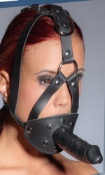 Face harness with gag and dildo