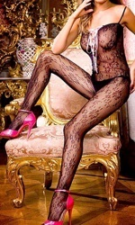 jaa Black Bodystocking With Lacing #123