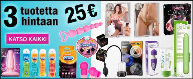 3 tuotetta vain 25 euroa